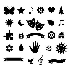 Set of various silhouettes isolated on white background. Vector illustration.