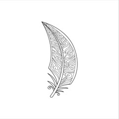 Vaned Feather Zentangle For Coloring