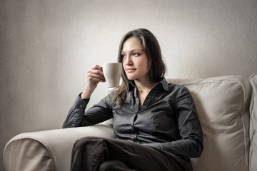 Relaxed woman on the sofa