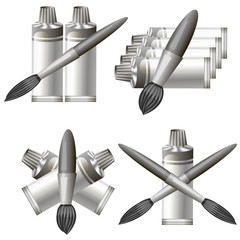 Set of Different Grey Paint Icon
