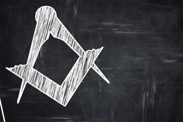 Chalkboard writing: Masonic freemasonry symbol
