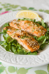 White plate with grilled salmon served with mini spinach and a piece of lemon. Healthy food for family. Home made dinner. Vegetarian lunch for diet.