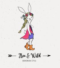 Bohemian fashion girl , bunny, rabbit, boho style