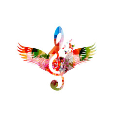 Colorful G-clef design with wings