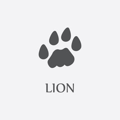 Lion print black simple icon for web design.