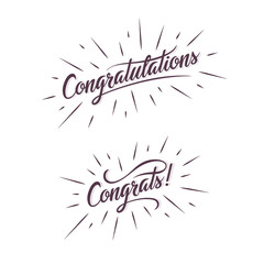 Congratulations. Hand lettering. Calligraphic greeting inscription. Vector handwritten typography. Greeting card.