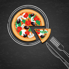 Sliced pizza and hand drawing sketch watercolor plate, fork, knife on textured black chalkboard background. Vector design for italian restaurant menu, cafe, pizzeria. Fast food or cooking background.