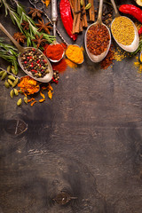 Printed kitchen splashbacks Spices Set of various aromatic colorful spices