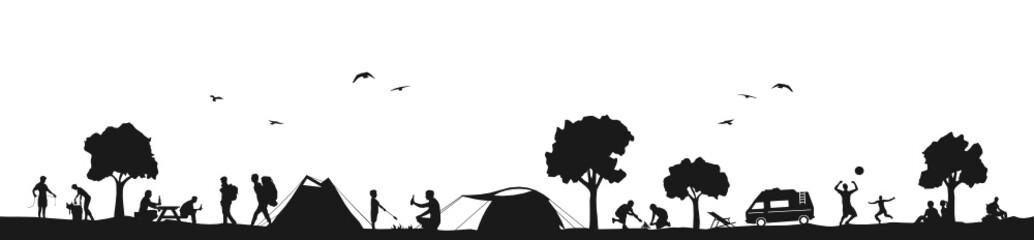 Zelten und Wandern Silhouette