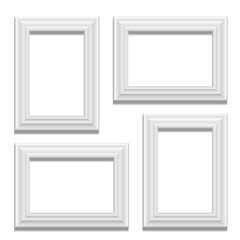 White classis frame set on the wall. Vector Illustration