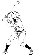 baseball player ready strike,illustration,logo,ink,black and white,outline,isolated on a white