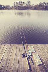 Vintage toned fishing equipment.