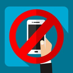 Noise Prohibited - Mobile Device - Smartphone Restrictive Sign - Flat Material Design