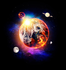 Global Warming, over color - Elements of this Image Furnished by NASA