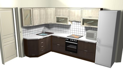 beige wooden kitchen, interior design 3D render