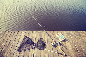 Vintage toned fishing equipment.