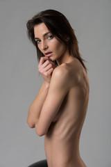 Italian woman on gray