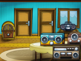 Cartoon radio with cassette player and recorder- isolated