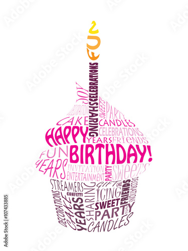 happy birthday cupcake with one candle stock image and royalty free