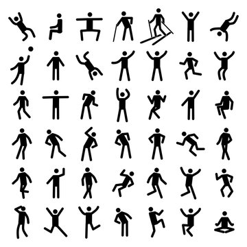 Man excercise icon set vector