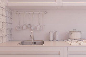 3d render of kitchen interior design in a modern style.