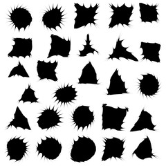 Black funny ink blots isolated set on white background. Vector Illustration