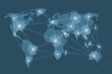 network and world map ,networking concept,Elements of this image furnished by NASA