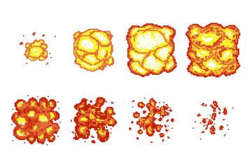 Pixel art explosion animation frames