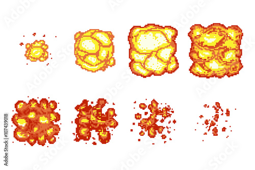 Pixel art explosion animation frames\