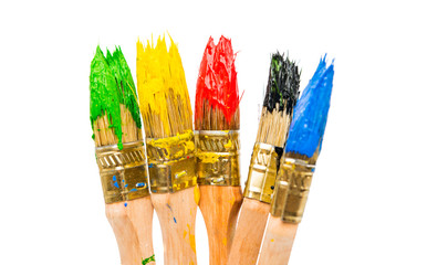 Fototapete - Brushes with colorful paints