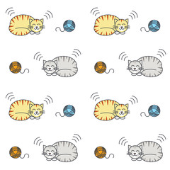 Sleeping tabby cats seamless pattern.