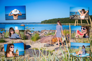 vacation and travel concept - pictures of happy woman on the bea