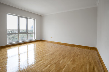 Empty Living Room With Space For Your Air Conditioner Furniture Or Curtain