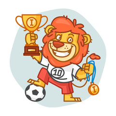Lion Footballer Holding Cup and Medal