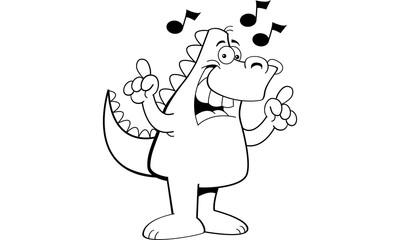 Black and white illustration of a dinosaur singing.