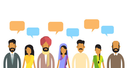 Indian People Group Chat Bubble Communication Concept, India Crowd Talking Social Network
