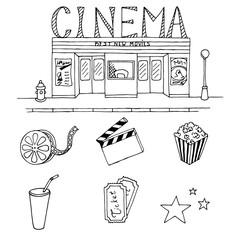 Cinema graphic art black white set isolated illustration vector