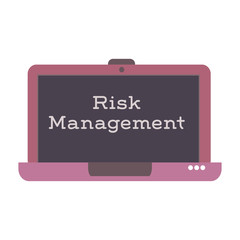 Isolated laptop with the text risk management written on its screen