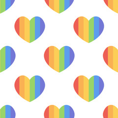 LGBT community rainbow hearts seamless pattern background. LGBT stripe heart symbol.