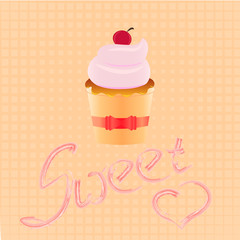 Cake shop logo, sweet cupcake with pink cream and ribbon, retro dessert emblem template design element.