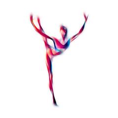 Creative silhouette of gymnastic girl. Art gymnastics dancing woman