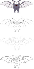 Cartoon funny bat. Dot to dot game for kids