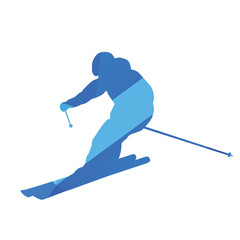 Downhill skier, vector silhouette