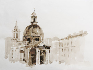 Graphic illustration of Rome. Italy. Poster Design. Two-color pencil, sepia. Duotone