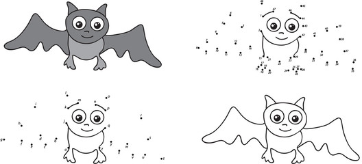 Cartoon bat. Coloring book and dot to dot game for kids