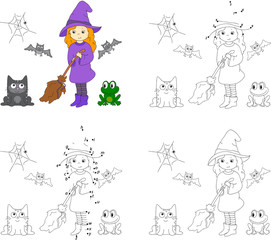 Pretty friendly witch with a broomstick, bats, black cat and fro