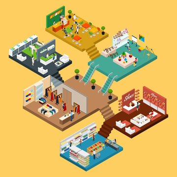 Shopping Mall Isometric concept