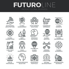 Global Business Futuro Line Icons Set