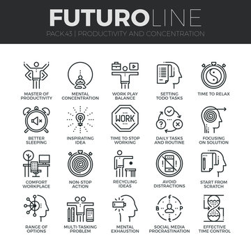 Human Productivity Futuro Line Icons Set