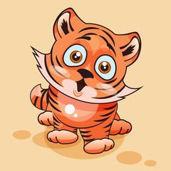 Tiger cub surprised